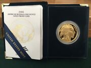 2006-w 1 Oz American Gold Buffalo Coin In Original Box With Cert - Very Nice