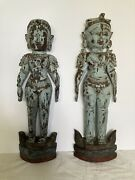 Southeast Asian Hand-carved Wooden Male And Female Statues