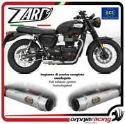 Zard Full Exhaust Brushed Steel Silencer Approved Triumph Bonneville T100 17