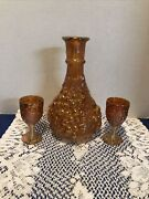 Imperial Carnival Glass Grape And Leaf Decanter -no Stopper- Marigold W/ 2 Glass