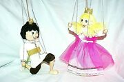 And Princess Lot 2 Artisan Dolls 23 Cm Puppets Czech Marionettes 4 Strings