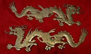 Asian Solid Brass Dragons East-west, Wall Mount - 24x8 Each-india Lot Of 2