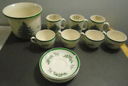 Vintage China Spode Christmas Tree With Green Trim Lot Of 13