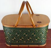Vintage Hawkeye Green And Tan Wooven Picnic Basket Large Country Farmhouse Chic