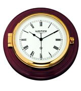 Wempe Cw400001 Skipper Brass Mahogany Ship Clock Quartz 210 X 50mm W/b Roman