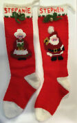 2 Vintage Handmade Knitted Christmas Stockings Santa And Mrs Claus Personalized