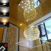 Rain Drop Chandelier Staircase Lighting Remote Square Led Crystal Ceiling Lamp