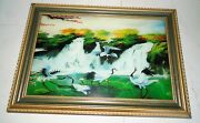 Beautiful Musical Lighted Vintage Oriental Shadow Box Waterfalls And Birds Frame
