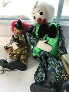2 New Clown Marionettes Wood Body Hand Painted Faces Stringed Puppets Bright