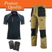 Wrightfits Cargo Work Trousers With Black Polo Shirt And Knee Pads - Bundle Deal