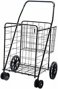Ls Jumbo Deluxe Folding Shopping Cart With Dual Swivel Wheels And Double Basket