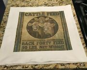 Farmhouse Throw Pillow Cover Cattle Feed Sack 18 X 18 Made In Usa