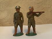 Vintage Old Antique Soldier Military Figurines Metal Cast Iron Lead Train Garden
