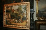 Antique Original Genre Oil Painting By English Artist E.s. Reed