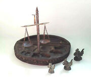 Opium Scale Carved Wooden 3 Original Weights Box Container