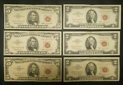 1963 2 5 Red Seal United States Notes Lot Of 6 Currency Paper Money Bill