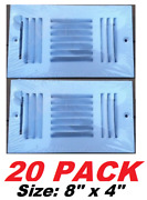 Wall Ceiling Duct Register 3 Way Multi-shutter Damper 8 X 4 Air Vent Cover 20pk