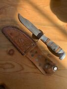 Vintage Kaybee Knife With Stacked Leather Handle And Sheath