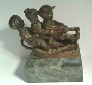 Art Bronze Small Sculpture Boys Playing Tug-a-war Signed Chiparus Circa 1900and039s