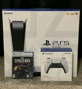 Sony Playstation 5 Console Disc Ps5 Controller Launch Spider Man Game Bundle New