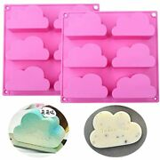 Fewo 2 Pack Cloud Cupcake Pans Mousse Cake Silicone Molds Jello Soap Wax Crayon