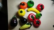 11 Pieces Hand Blown Glass Fruit And Vegetables Murano Style