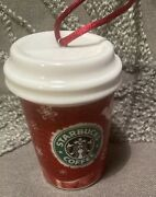 Holiday Starbucks To Go Cup Ornament 2008 Classic Christmas Red Green White