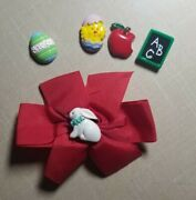 Vintage Red Hair Bow With Hook And Loop Pieces Easter School Chick Chalkboard