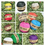 Hemp Twine Cord Eco Dyed 12 Colors 430 Ft 20lb Strength 1mm Smooth Polished
