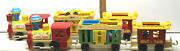 2 Vintage Fisher-price Little People Circus Train 991 Pull Along Toy Animal Zoo
