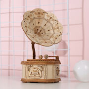 3d Wooden Puzzle Phonograph Music Box Model Assembly Diy Adult Creative Toy Gift