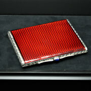 Faberge Picture Frame Sterling Silver Cigarette Case Style Red Enamel Guilloche