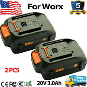 2-pack 20 Volt For Worx Wa3525 20v 3.0ah Max Lithium Battery Power Tools Wa3520