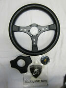 Lamborghini Countach Qv Steering Wheel + Rubber Pad + Horn Badge Emblem Nos