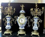 Extra Large Antique Delft Porcelain/faience And Bronze Clock And Candelabra