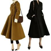 Womens Double-breasted Swing Coats Parka Cashmere Warm Slim Fit Outwear Jacket L