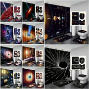 Space Planet Whirlpool Bathroom Shower Curtain Bath Rugs Toilet Seat Cover Sets