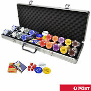 500pc Casino Size Chips Poker Set Texas Hold'em Game Party Game Bronzing Number