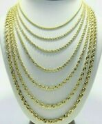 Real 10k Yellow Gold 2mm - 6mm Diamond Cut Rope Chain Necklace Bracelet 16- 30