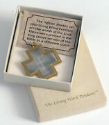 Vintage The Living Word Pendant Cross Printed King James Bible Tiny Letters Rare