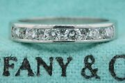 And Co. Ring Band Channel Set Small Diamonds In Between Platinum .64ct