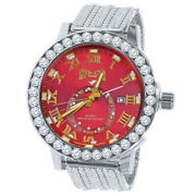 Solitaire Ruby Red Genuine Diamond White Gold Finish 55mm Custom Ice House Watch