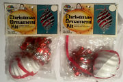 Vintage Holiday Industries Red Swirls Christmas Ornament Kits 2 Sequins Beads