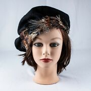 Vintage 1930's Made In Africa Black With Multi-color Feathers Woman Beret Hat