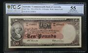 1954 Coombs Wilson R62 Australia 10 Pounds Pcgs Graded About Unc 55