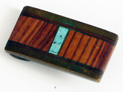 Vintage Tourquoise Wood Brass Small Belt Buckle Nice Southwestern Style Look