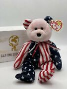 Retired Spangle - Ty Beanie Babies - Usa Unique Pink Head - 1999 P.e Pellets
