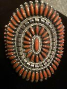 Exquisite Zuni Coral Needlepoint Sterling Silver Bracelet Native American