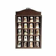 20 Vintage Decorative Sewing Thimbles In Case Display Shelf Showcase Horses Dogs