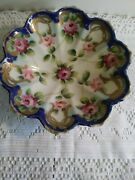 Nippon Moriage Scalloped Porcelain Hand-painted Roses Footed Candy Dish 7 3/4